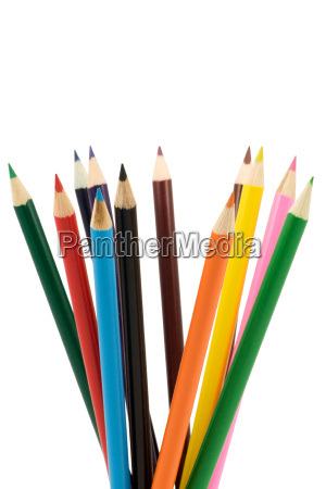 set of colored pencils isolated on