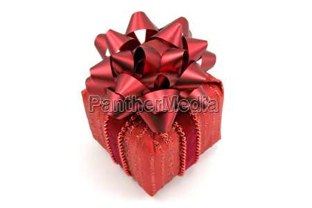 red gift box with big bow