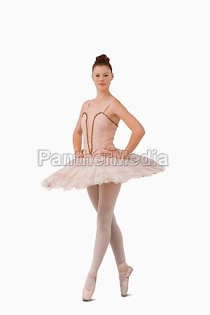 ballerina standing on her tiptoes