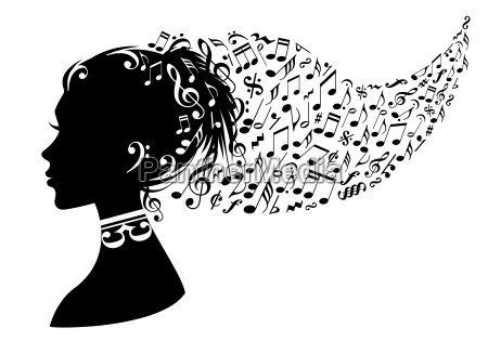 woman with music notes vector