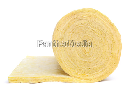 roll of fiberglass insulation material isolated
