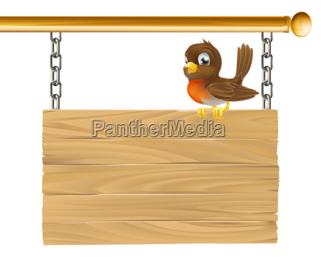 bird hanging wooden sign