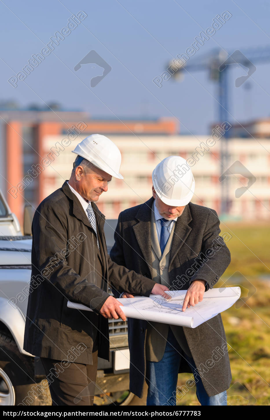 two, architects, man, look, at, construction - 6777783