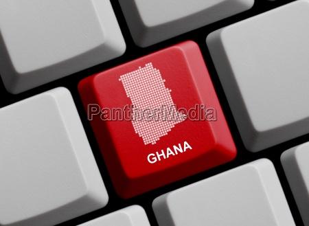 ghana outline on keyboard