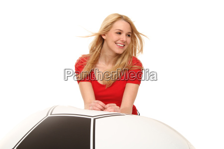 woman with riessenfussball
