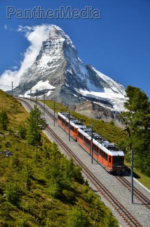 gornergrat train and matterhorn switzerland