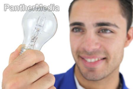 man holding replacement bulb