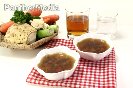 beef consomme with vegetable soup