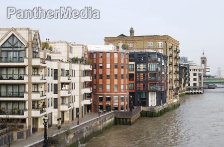 apartment blocks on river thames london