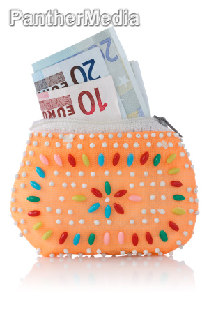 decorated wallet with euro currency