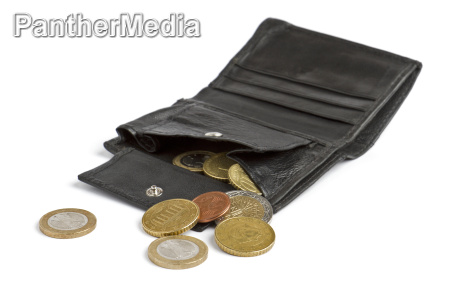 loose cash falling out of black