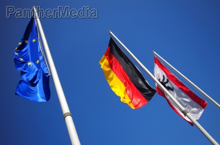 europe deuschland and berlin flags together