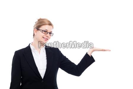 cheerful businesswoman presentation