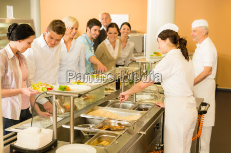 office woman in canteen cook serve