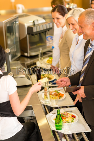cafeteria business man pay by credit