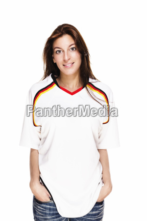 young happy woman has jersey football
