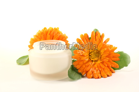 calendula ointment with flowers