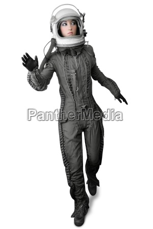 astronaut fashion stand woman space suit