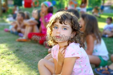 girl spectator little children looking show