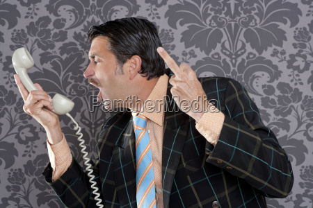 angry nerd businessman retro telephone call