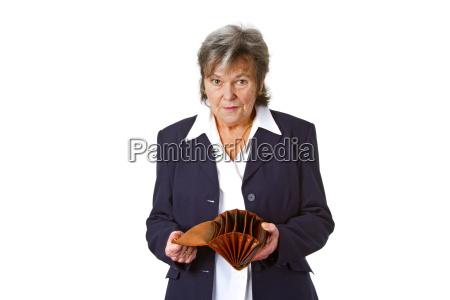 senior with empty purse