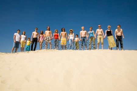 crowd of sunbathers