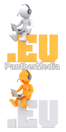 3d character sitting on eu domain