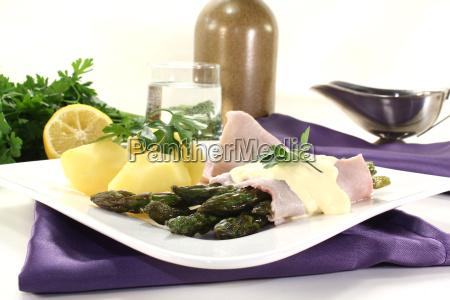 food dish meal asparagus ham cooking