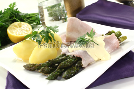 food dish meal asparagus ham cooking