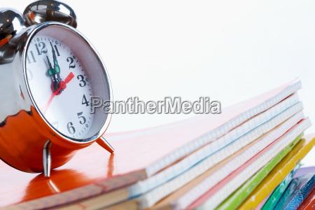alarm clock on copybooks