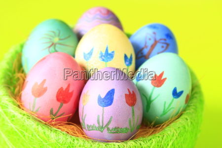 colorfully painted easter eggs