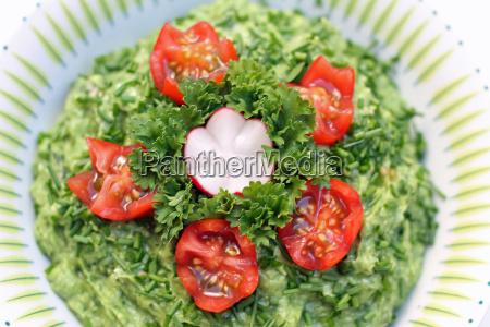 garnished avocado dip