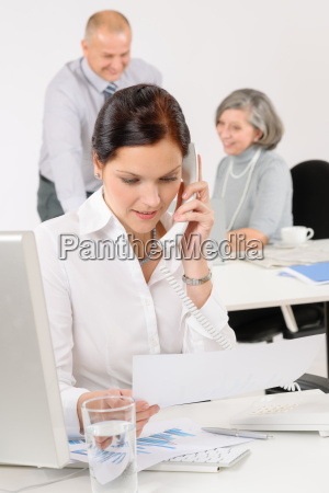 business team pretty businesswoman calling phone
