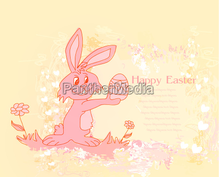 illustration of happy easter bunny carrying