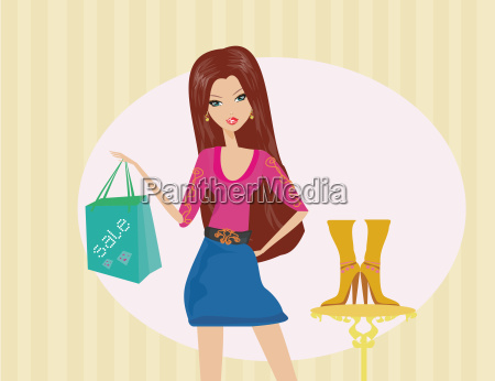 fashion girl shopping in shoe shop