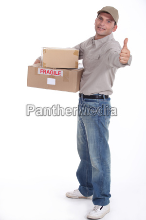 delivery man isolated on white background
