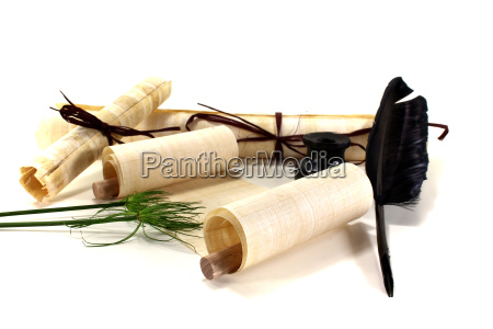 papyrus scrolls with quill pen and