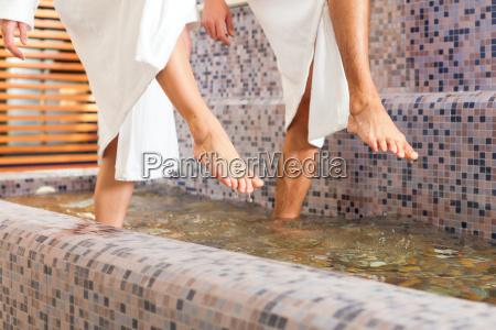 man and woman wellness water treading