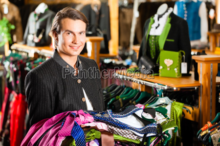 man is buying tracht or dirndl