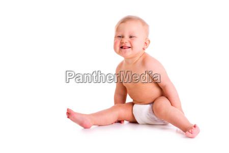 studio shot of baby in diaper