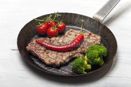 steak in a iron pan