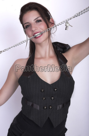 young model bites in chains