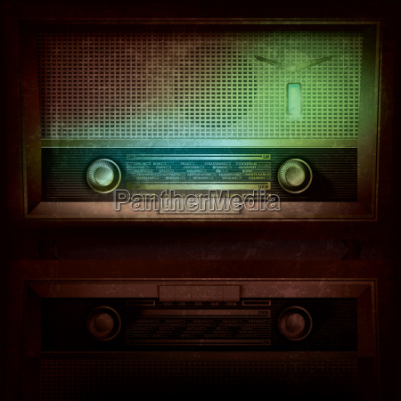 abstract music background with retro radio