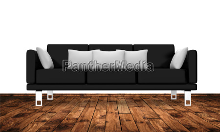 modern couch on wooden floor against