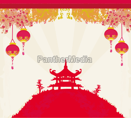 koncept udkast plan traditionel lanterne kina