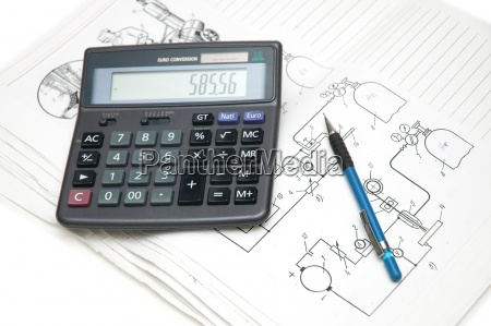 calculator and pencil over the engineering