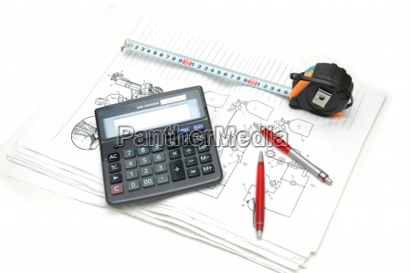 calculator and pencils over the