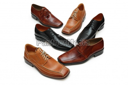 various male shoes isolated on the