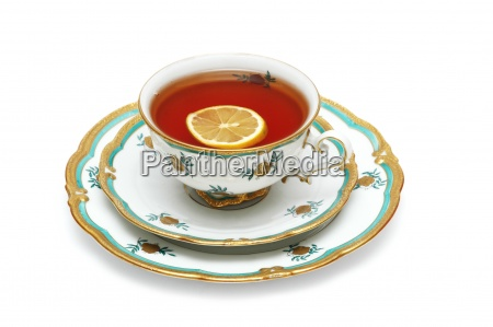 cup of tea with lemon isolated