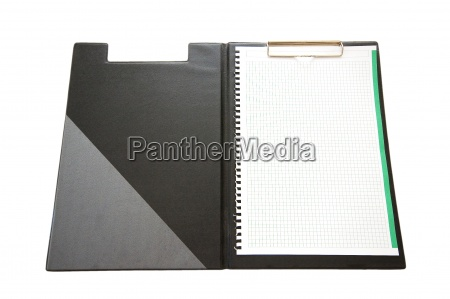 open binder with blank sheet of